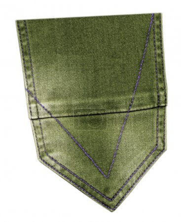 green jeans back pocket isolated
