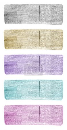 set of blank tags of different colors for denim garment