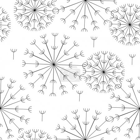 vector abstract seamless black and white pattern of dandelions