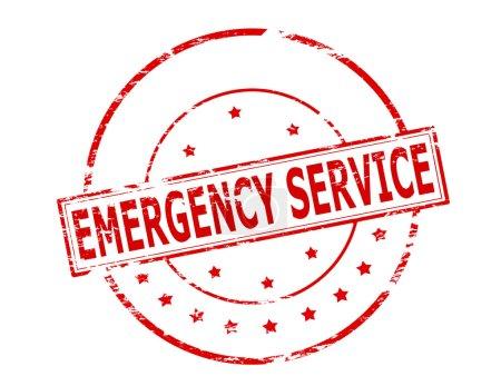 Illustration pour Timbre en caoutchouc avec service d'urgence texte à l'intérieur, illustration vectorielle - image libre de droit
