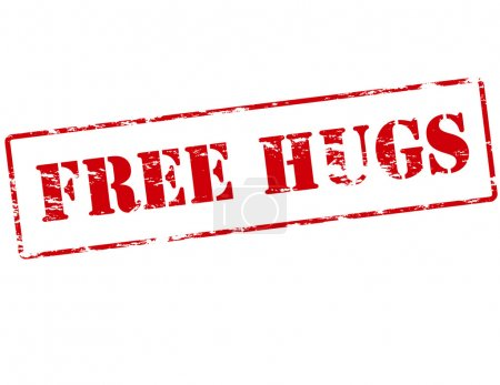 Rubber stamp with text free hugs inside, vector il...