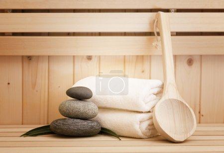 Photo pour Accessoires de sauna, spa et piscine-finlandais - image libre de droit