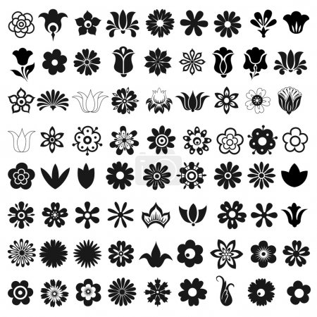 Illustration for Set of 72 vector graphic icons flowers - Royalty Free Image