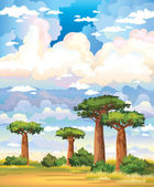 Green baobabs and yellow grass on a blue sky with group of clouds Natural vector landscape