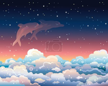 Illustration for Two dolphins jumping in a cumulus clouds on a starry night sky. - Royalty Free Image