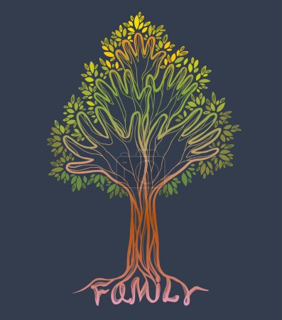 Family hand tree. Concept illustration.