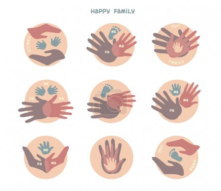Set of icons with hands. Family.