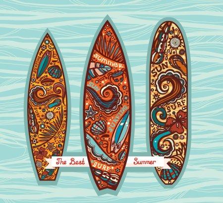 Set of surfboards. Surfing summer.