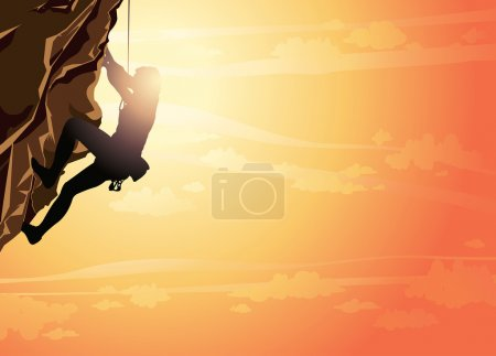 Illustration for Silhouette of man climbing on a stone wall on the sunset sky background. Vector illustration of sport. - Royalty Free Image
