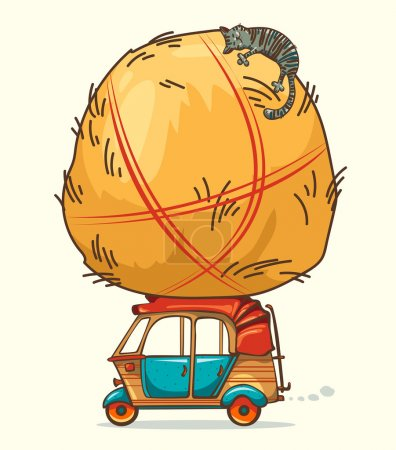 Auto rickshaw and haystack with cat.