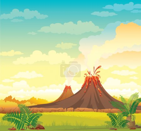 Prehistoric landscape with smoky volcanoes and gre...