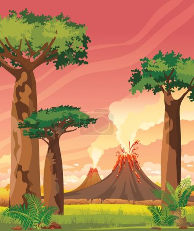 Prehistoric landscape - smoky volcanoes and baobabs.