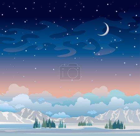 Illustration pour Paysage nocturne d'hiver. Ciel étoilé bleu avec lune et forêt verte avec montagnes. Illustration vectorielle nature . - image libre de droit