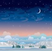 """Постер, картина, фотообои """"Ночной Зимний пейзаж с звездного неба и Луны."""""""