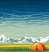 Summer night landscape and travel tent.