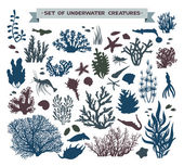 Set of underwater sea creatures - coral and fish.