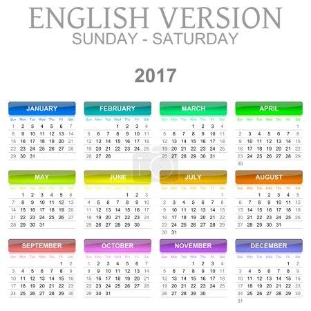 2017 Calendar English Language Version Sunday to Saturday