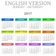 Постер, плакат: 2017 Calendar English Language Version Sunday to Saturday