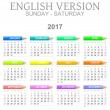 Постер, плакат: 2017 Crayons Calendar English Version Sunday to Saturday