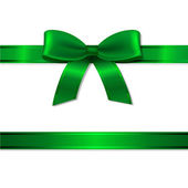 Green Ribbon And Bow With Gradient Mesh Vector Illustration