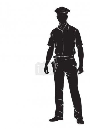 Illustration pour Un policier. Silhouette vectorielle, isolée sur blanc - image libre de droit