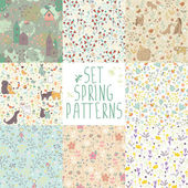 set of spring floral patterns