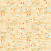 Seamless pattern of spring theme Birds and eggs on a floral background
