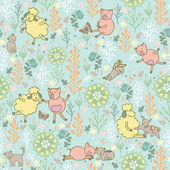 animals in the meadow seamless pattern