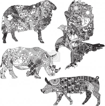 Set of animals in the ethnic ornaments