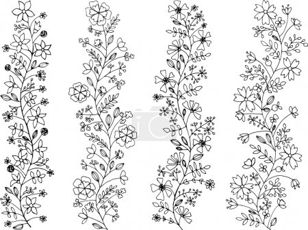 Illustration for Four hand-painted floral lines - Royalty Free Image