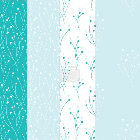 Illustration for Four seamless background combined with each other in light blue, white, aquamarine colors - Royalty Free Image