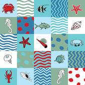 Seamless pattern with marine life