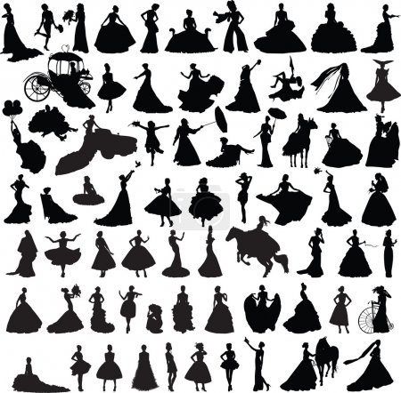 Illustration for Set of silhouettes of girls with wedding dresses in different poses - Royalty Free Image