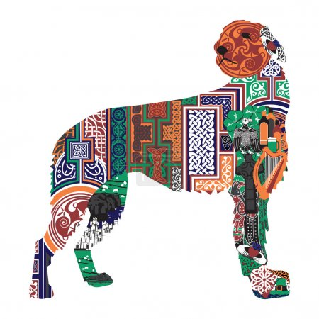 silhouette of a dog with the Irish designs