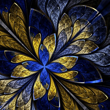 Foto de Beautiful fractal as flower or  butterfly in stained glass window style. Computer generated graphics. - Imagen libre de derechos