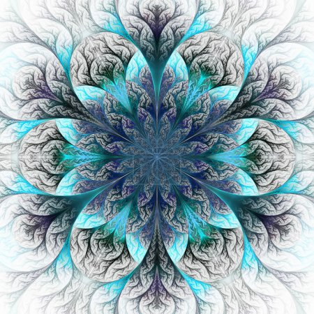 Photo for Beautiful fractal flower in blue and gray. Computer generated graphics. - Royalty Free Image