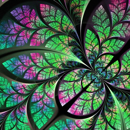 Fabulous fractal pattern in blue, green and pink. Collection - t