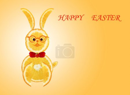 Creative food concept. Little funny yellow rabbit with text Happ