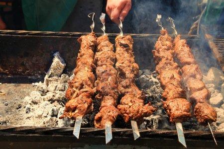 The Caucasian shish kebab on skewers