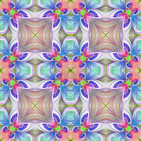 Multicolored seamless flower pattern in stained-glass window sty