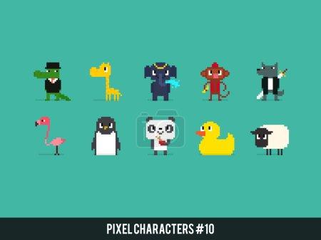 different pixel art animals
