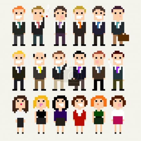 Pixel office people  icons