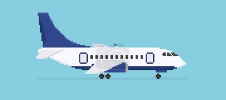 Pixel art plane isolated