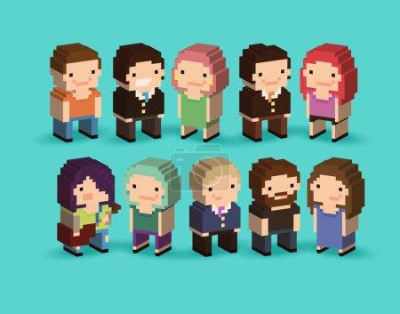 pixel art cartoon characters
