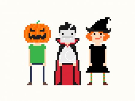 Pixel art characters in halloween outfit