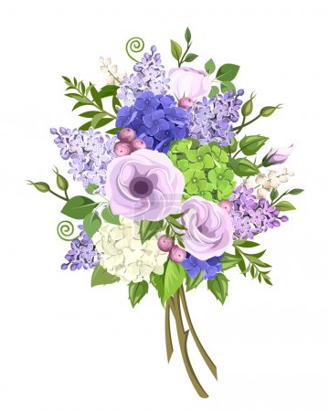 Illustration for Vector bouquet of purple, blue, white and green lisianthus, lilac and hydrangea flowers and green leaves isolated on a white background. - Royalty Free Image