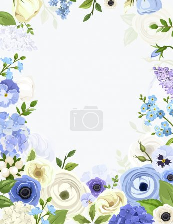 Illustration for Vector background with various blue and white flowers and green leaves. - Royalty Free Image