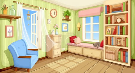 Vector cozy room interior with bookcase, couch and...