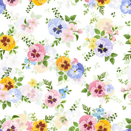 Vector seamless pattern with colorful pansy, forge...