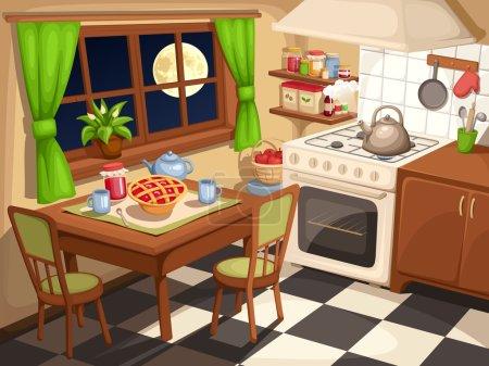 Illustration pour Illustration vectorielle d'un intérieur de cuisine du soir avec table dressée et une bouilloire sur un poêle. - image libre de droit